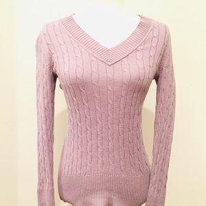 LOFT Lilac Cable Knit V-Neck Sweater, XS